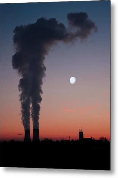 Nuclear Power Station In Bavaria Metal Print by Michael Kohaupt