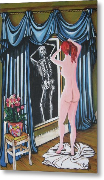 Nude Beauty On The Mirrow Metal Print