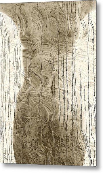 Nude Behind Soaped Window Metal Print