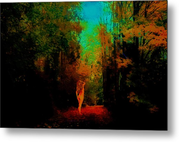 Nude In The Forest Metal Print by Jeff Burgess