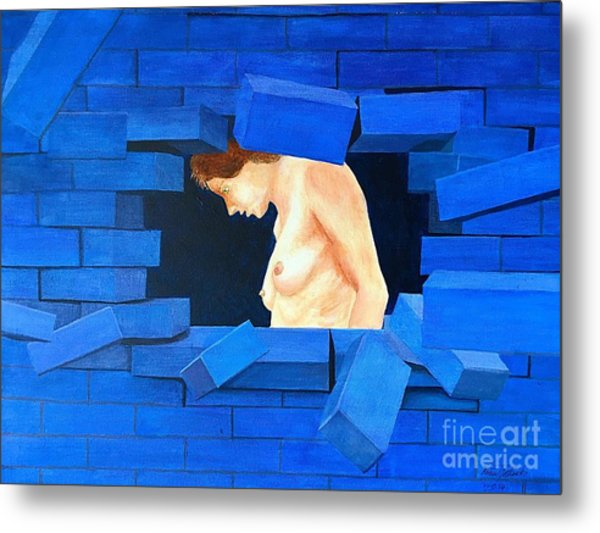 Nude Lady Through Exploding Wall Metal Print