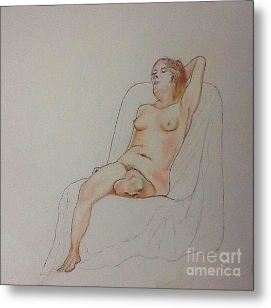 Nude Life Drawing Metal Print