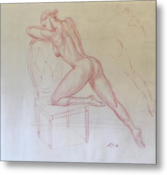 Nude On Chair Metal Print by Alejandro Lopez-Tasso