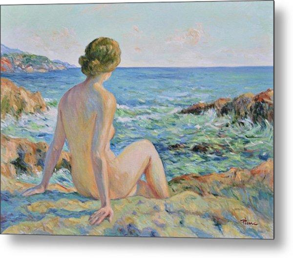Nude On The Coast Monaco Metal Print
