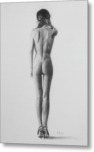 Nude Woman In High Heels Drawing Metal Print