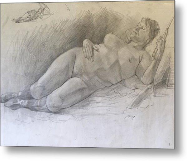 Nude Woman Resting Metal Print by Alejandro Lopez-Tasso