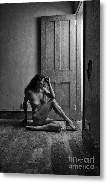 Nude Woman Sitting By Doorway In Abandoned Room Metal Print