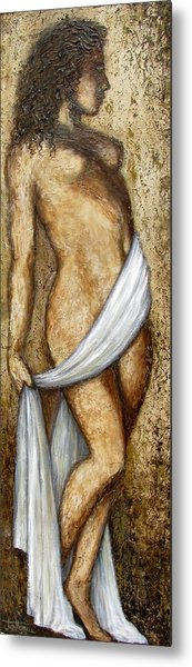 Nude Woman Standing Metal Print by Judy Merrell