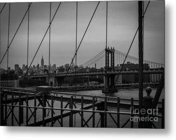 Ny Skyline From Brooklyn Bridge Metal Print