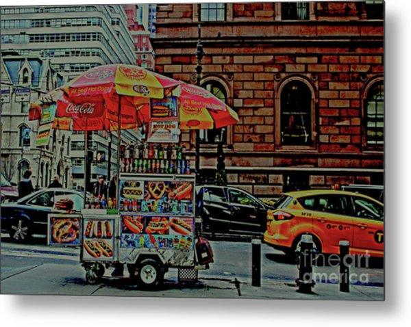 New York City Food Cart Metal Print