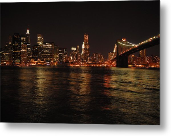 Nyc Night Metal Print by Maria Lopez