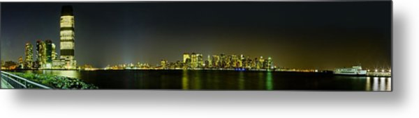 Nyc Night Skyline Panorama 1 Metal Print