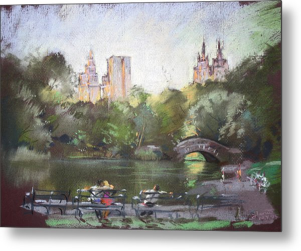 Nyc Resting In Central Park Metal Print