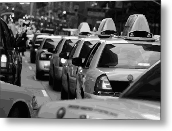 Nyc Traffic Bw16 Metal Print
