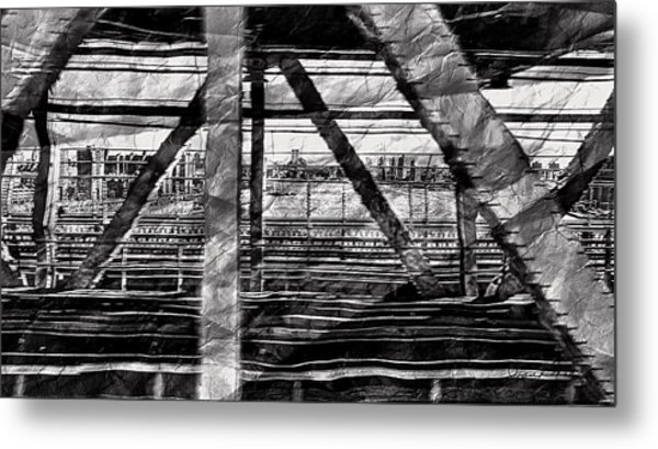 Metal Print featuring the photograph Nyc Train Bridge Tracts by Joan Reese