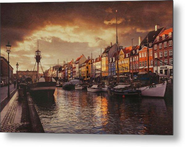 Nyhavn Sunset Copenhagen Metal Print
