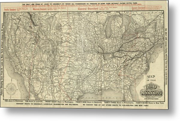 O And M Map Metal Print