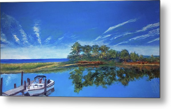 Oak Bluffs With Grady White Metal Print