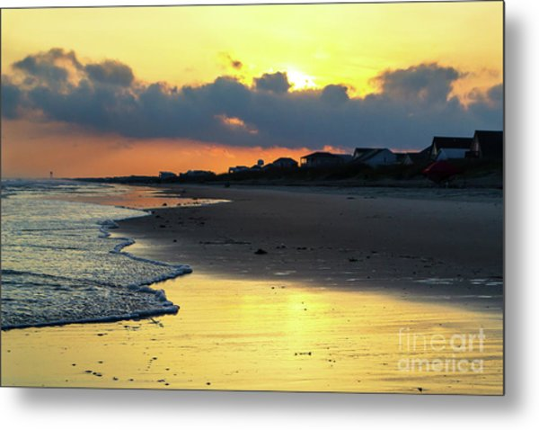 Oak Island Yellow Sunset Metal Print