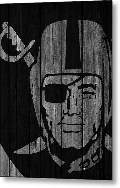 Oakland Raiders Wood Fence Metal Print