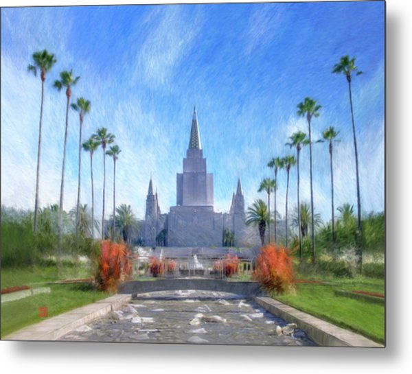 Metal Print featuring the painting Oakland Temple No. 1 by Geoffrey Lewis