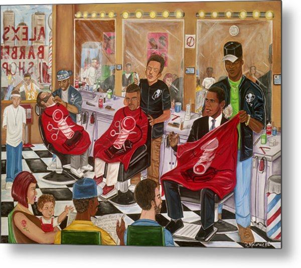 Obama At The Barber Metal Print by Mccormick  Arts