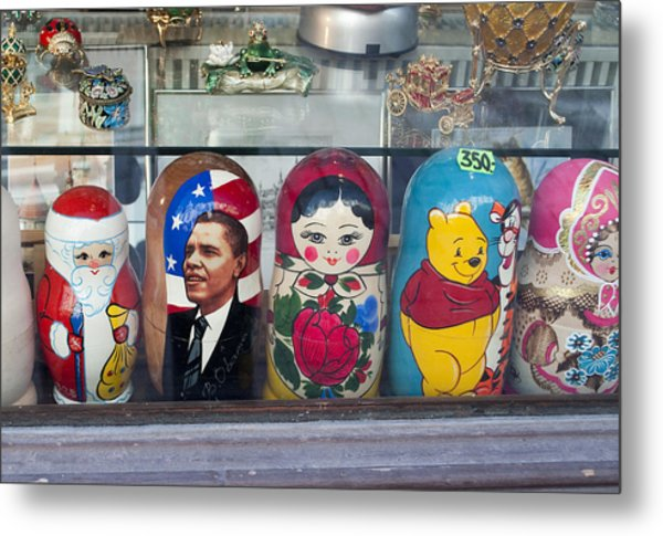 Obama Russian Doll 0183 Metal Print by Charles  Ridgway
