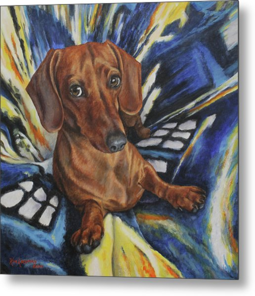 Dachshund Time Lord Metal Print
