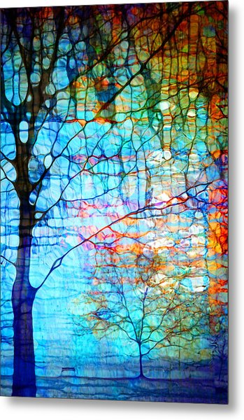 Obscured In Blue Metal Print