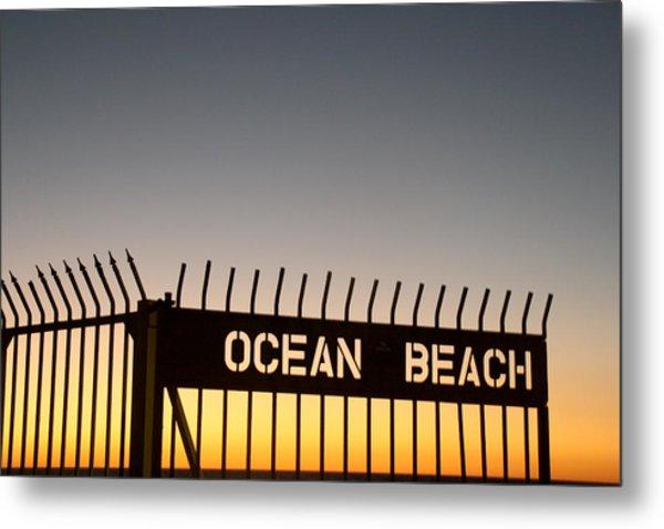 Ocean Beach Pier Gate Metal Print