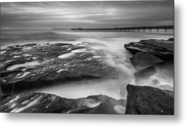 Ocean Beach Tidepools And Pier Metal Print