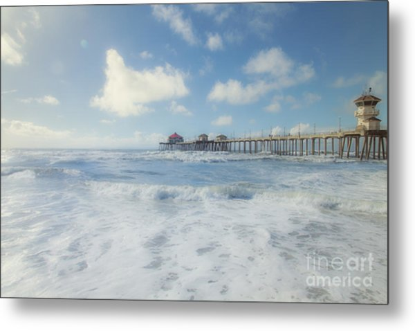 Ocean Blue At The Pier Metal Print