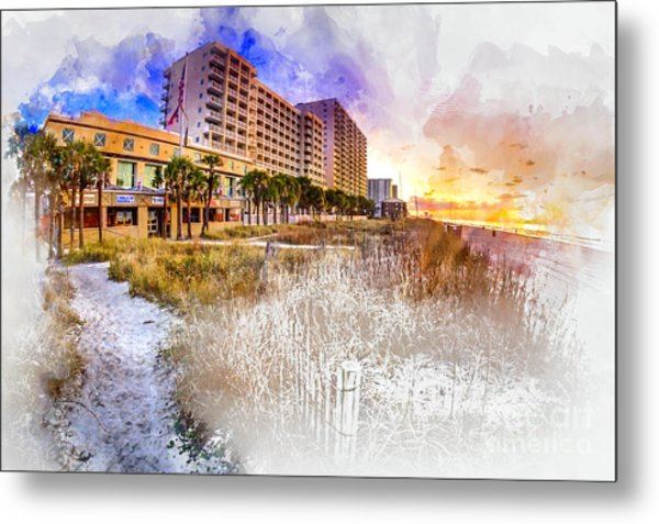 Ocean Drive Sunrise Watercolor Metal Print