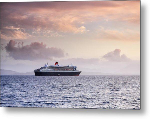 Ocean Liner Sunset Metal Print by Grant Glendinning