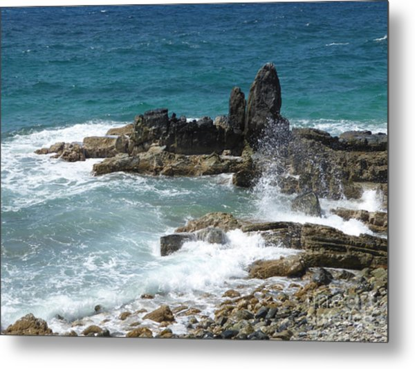 Ocean Spray Mid-air Metal Print