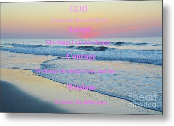 Ocean Sunrise Serenity Prayer Metal Print