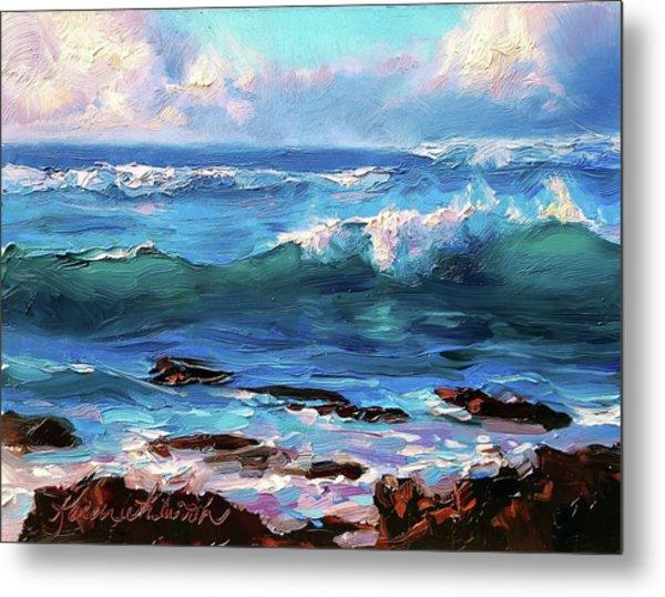 Coastal Ocean Sunset At Turtle Bay, Oahu Hawaii Beach Seascape Metal Print