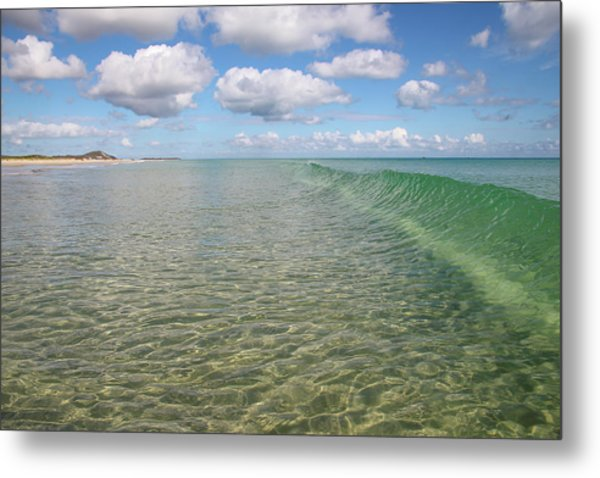 Ocean Waves And Clouds Rollin' By Metal Print