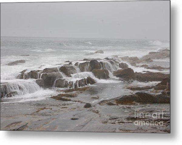 Ocean Waves Over Rocks Metal Print