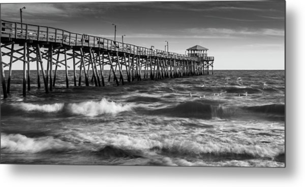 Metal Print featuring the photograph Oceana Ocean Crest Fishing Pier In Nc Panorama In Bw by Ranjay Mitra