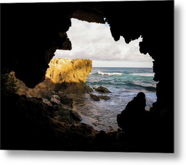 Oceanfront Cave Metal Print