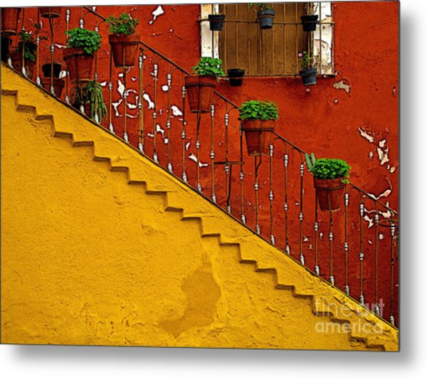 Ochre Staircase With Red Wall 2 Metal Print by Mexicolors Art Photography