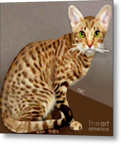 Metal Print featuring the painting Ocicat by Marian Cates