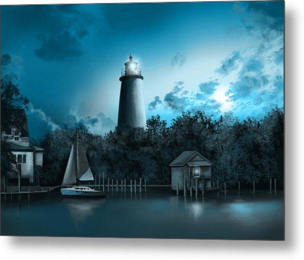 Ocracoke Lighthouse Blue Metal Print