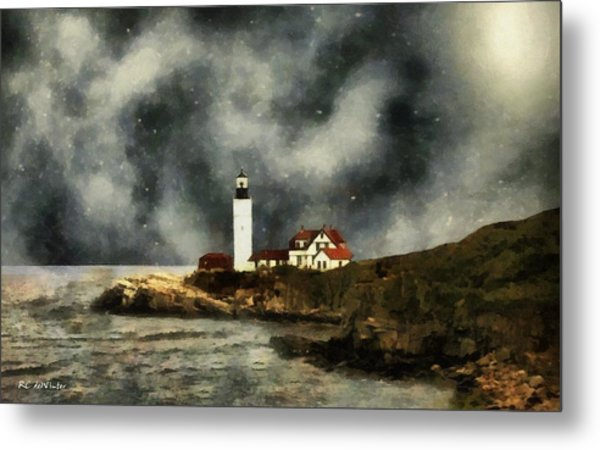 October Night, Portland Head Metal Print