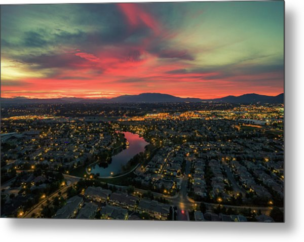 October Sunrise Harveston Lake Temecula Metal Print