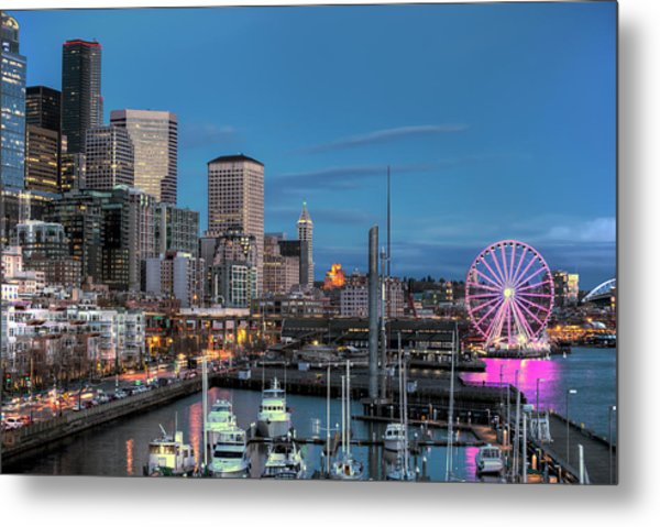 October Twilight Seattle Waterfront Metal Print
