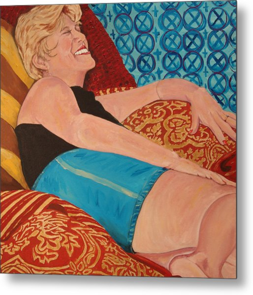 Odalisque In Blue Shorts Metal Print