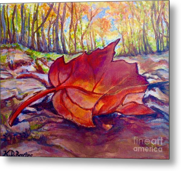 Ode To A Fallen Leaf Painting Metal Print