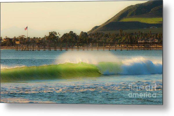 Offshore Wind Wave And Ventura, Ca Pier Metal Print